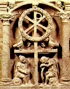 Victory Cross, Rome, Vatican. Sarcophagus of Domatilla (from Catacomb of Domatilla), mid-4th century On top of the cross form is the wreathed chi rho or Christogram.